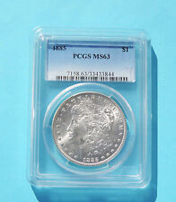 1885 Morgan Silver Dollar US Coin - MS 63 by PCGS - MS 63