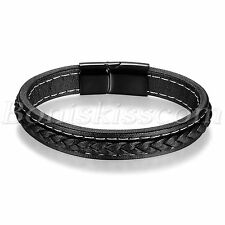 Simple Charm Braided Black Leather Stainless Steel Buckle Men's Bracelet Bangle