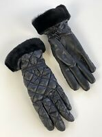 New Ugg Womens Quilted Gloves Size S/M Black Shearling Cuff