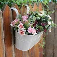 Oval Metal Plant Flower Pot Fence Balcony Garden Hanging Home Pots Planter W3J0
