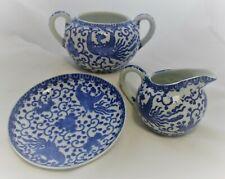 Antique Japanese Porcelain Phoenix Blue White Lot Sugar Bowl, Creamer, Plate