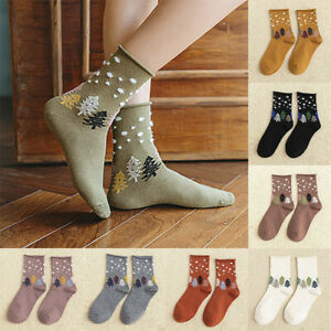 Women Fashion Rolled Socks Cotton Mid Tube Casual Christmas Polka Dot Socks AU