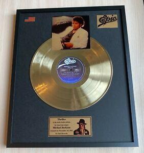 Michael Jackson Thriller 1982 Vinyl Gold Metallized Record Mounted In Frame