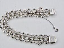 "Vintage  Sterling Silver Fancy Triple Link Charm Bracelet with Safety 7-1/2 """