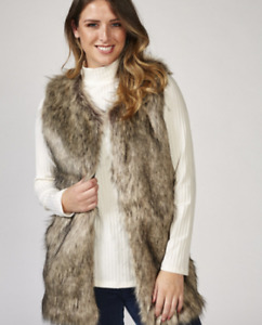 Dennis Basso Gorgeous Long Faux Fur Gilet Beige Medium New