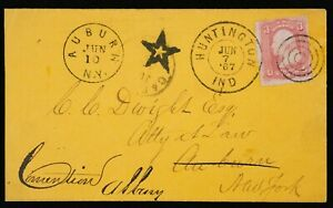 CARRIER NEGATIVE STAR FANCY CANCEL ON COVER US SCOTT 65 IND to New York 1867
