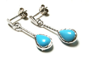 9ct White Gold Turquoise D/C Teardrop earrings Gift Boxed Made in UK