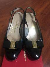 Salvatore Ferragamo womens shoes size 7 B Black Patent sling back