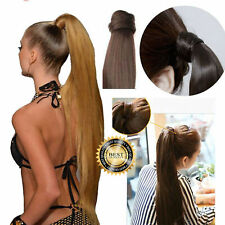 Natural Invisible Curly Long Wave Ponytail Clip in As Human Hair Extension UK