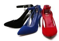 Zapatos de Salón Stiletto Piel Sintético Azul ante 9.5 35 8601