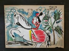 PABLO PICASSO      DRAWING SIGNED ON VINTAGE PAPER OF THE 60s