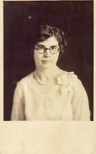 Vintage Old 1920's Photo Postcard RPPC of Woman Wearing Thick Rimmed Glasses