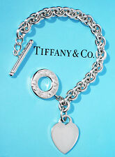 TIFFANY & CO MEDIUM collegamento CUORE Toggle 7.5 pollici STERLING SILVER BRACELET