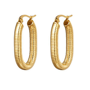 18ct Gold-Plated Patterned Oval Hoop Earrings