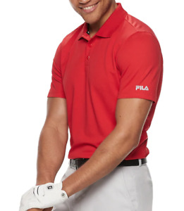 Fila Golf Shirt Mens Medium or Large Red Quick Dry Short Sleeve Performance Polo