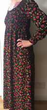 VINTAGE LATE 60s EMPIRE LINE SMOCKED DRESS MOSS CREPE FLORAL 8 MAXI PENNY LANE