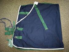 "NWT Saxon Cotton Stable Sheet Blanket Navy w/ Hunter Green Silver Trim 75"""