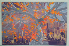 Original Painting Cherry Blossoms Tree Acrylic Canvas 24x36 Purple Orange Modern
