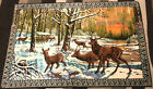 """Vintage Italy Tapestry Rug Wall Hanging Deer at Sunrise EUC! 73""""x49"""" Beautiful!"""