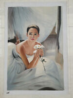 Hand made Modern abstract Oil Painting on Canvas Ballerina girl no frame #b174
