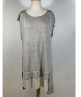 EILEEN FISHER Sleeveless Tunic Long Top Linen Blend Silk Trim Taupe Gray Sz S/P