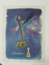 1946 D'Orsay intoxication perfume bottle flying romantic couple art ad