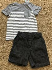 NWT Boys Gray Stripe Short Sleeve Top Gray Shorts 2pc 2T