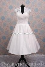 UK 1303 short wedding dresses tea length below knees 1950s 60s 50s 1960s kate
