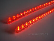 "(2) RED LED STRIPS 24CM 9.5"" Car PVC Flexible Light bulb water proof 12V strips"