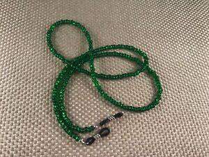 "EMERALD ISLE GREEN 27"" Glass 6/0 Beaded Eyeglass Sunglasses Chain Holder  USA"
