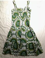 dress size 8 summer beach green white yellow patterned floral mini midi strappy