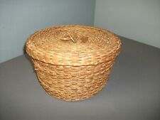 Vintage Lg Ash Splint & Sea Grass Basket w/ Lid - Pine Needle Ring Handle - 216