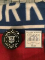 New York Rangers Jean Ratelle Night Jersey Retirement Autographed signed puck