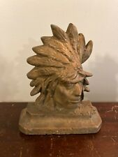 Vtg Cast Bronze Native American Indian Head Doorstop Door Stop Test Casting ?