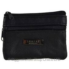 NEW Mens Womens Soft Black LEATHER Coin PURSE by Lorenz Change Key Chain Handy
