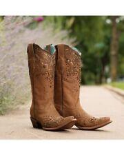 LADIES CORRAL HONEY FANGO/BRONZE GLITTER SNIP TOE BOOTS SIZE 6 1/2 w