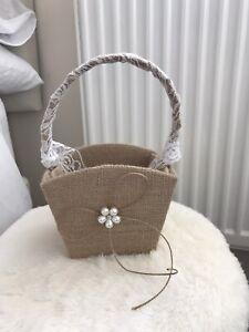 Flower Girl Bridesmaids Basket Hessian Material