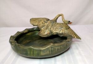 WELLER POTTERY, MUSKOTA, SWAN with WINGS SPREAD SITTING ON EDGE OF BOWL, NICE