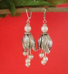 Silver Tulip Pearl Dangle Earrings.