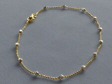 """10"""" STERLING SILVER/GOLD ANKLE BRACELET w/ROUND DIA CUT BEADS-ITALY 925"""