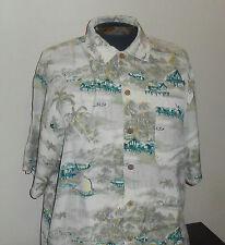 Tommy Bahama 100% Silk - Beige Camp Shirt - Island Scenes - Hawaiian - Medium