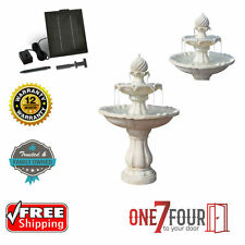 Solar Power Three-Tier Water Fountain Ivory Bird Bath Indoor Outdoor