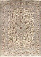 Vintage Floral Oriental Area Rug Traditional Hand-Knotted 10 x 13 Ivory Carpet