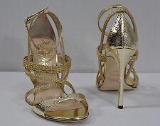 Alejandro Ingelmo Strappy/Braided Sandals NWB sz 37.5/7 Gold Laminated Heel $610