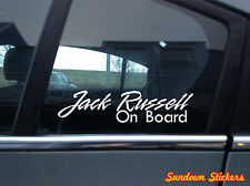 "2x  ""Jack Russell On Board "" Dog in car warning , window / bumper STICKERS"