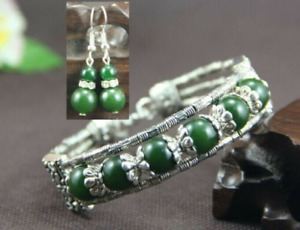 Ladies Bangle Earrings Tibetan Silver Green Jade Bead Bracelet Earrings Set