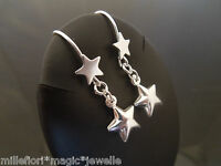 925 Sterling Silver Star Hook Dangle Earrings With Puffed (Hollow) Star Charm