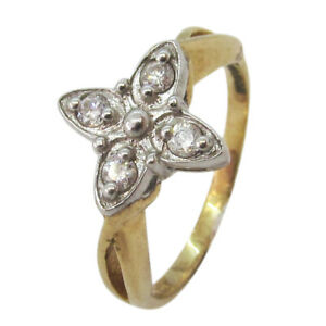 9ct Yellow & White Gold Fancy Round 0.20ct Diamond Flower Cluster Cocktail Ring