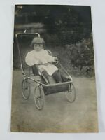 Vintage Real Photo Post Card Little Girl in a Stroller 1910s? AZO Stamp