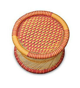 KSM Eco friendly Handcraft Bamboo Stick Stool with Red Orange Colourful Rope